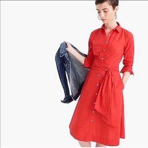 J. Crew Tie-waist Shirtdress In Cotton Poplin